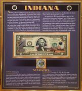 United States Enhanced 2 Dollar Bill And Quarter Collection Indiana State