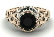 2.75 Ct Black Diamond Flower Unique Engagement Ring In 14k Rose Gold Wife Gift