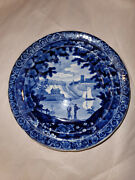Historical Staffordshire Blue Small Toddy Plate Sailboat Fishing Scene Fb6