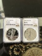 1989 Star Silver Eagle Ms69 Ngc Proof Like Surfaces, Super Rare