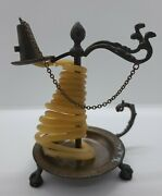 Antique Wax Jack Brass Signed Made In Italy Claw Feet W Wax And Snuffer Cap