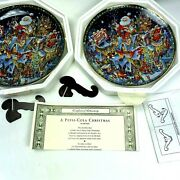 Franklin Mint Pepsi Cola Christmas Plates Collector With Coa 1994 Stand Package
