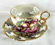 Royal Sealy Footed Tea Cup And Saucer Fruit Lusterware Gold