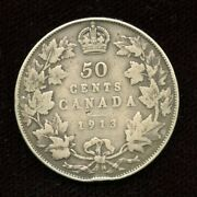 1913 Canada Silver Fifty Cents - No Reserve Sale