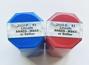 2010 Pandd Set Of A. Lincoln Presidential Dollars Sealed Rolls Of 20 Anacs Ms63