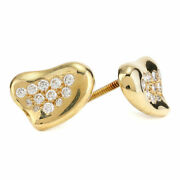 Vintage And Co. Elsa Peretti Heart Diamond Earrings In 18k Yellow Gold