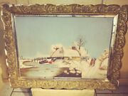 Snow Landscape And Home Painting On Devoe Board Primitive Folk Art Country 1869