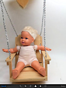 Hand Carved Wood Hanging Doll Chair Swing W/ Chains Top Wooden Block + Baby Doll