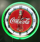 19 Coca-cola 1930and039s Bottle Sign Double Green Neon Clock Coke