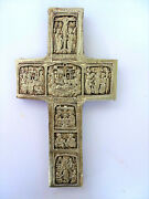 Old Orthodox Wooden Cross With Brass Oklad And Biblical Scenes Dc2