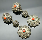 Vintage Genuine Coral Etruscan Style 800 Silver Elongated Clip On Earrings