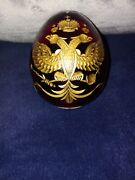 Large Russian Style Faberge Ruby Red Etched Gold Glass Imperial Eagle Egg