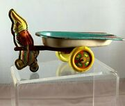 Vintage 1950s Happy Easter Bunny Tin Litho Toy Pulling Cart By Wyandotte Toys