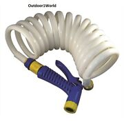 Marpac 7-0422 Boat Coiled Washdown Hose With Nozzle 1/2 X 15and039 New