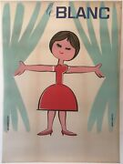 Charming Original Vintage French 1950's Advertising Poster, 'le Blanc'