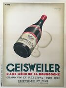 Art Deco Original Vintage Sparking Wine Poster And039geisweilerand039 By Marton 1921