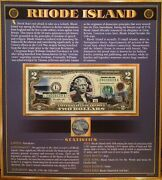 United States Enhanced 2 Dollar Bill And Quarter Collection Rhode Island State