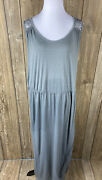 Boutique Womens Gray Maxi Dress With Crochet Knit Back And Side Slits Sleeveless