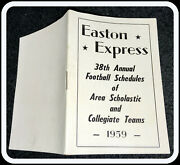 1959 Easton Express North Eastern College And High School Football Pocket Schedule