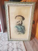 Antique Frame Early 1900s 37 X 24 Ornate Gold Guilt With Lithograph 1910-1915