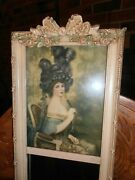 French Style Trumeau Mirror Barbola Roses Picture Frame 28 1/2 X 7 1/2