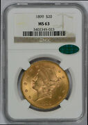 1899 20 Liberty Gold Coin Ngc Graded Ms63 Cac - Free Shipping