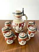 Mettlach Stein Set Peasants Bowling, 2210 And Six 2211, All With Inlaid Lids
