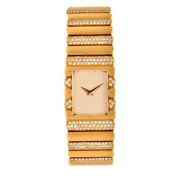 Solid 925 Sterling Silver Womenand039s Wrist Watch Rectangle Dial Yellow Gold Plated