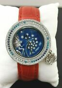 925 Sterling Silver Womenand039s Wrist Watch Simulated Diamond Round Blue Enamel Red