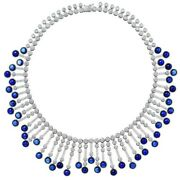 925 Sterling Silver Blue Cabochon Round Womenand039s Necklace Highend Jewel
