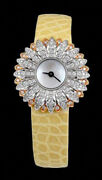 Solid 925 Sterling Silver Womenand039s Wrist Watch Flower Studded Vegan Strap Yellow