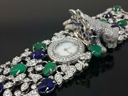 925 Sterling Silver Womenand039s Wrist Watch Simulated Diamond Blue Green Leaf Stone