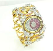 925 Sterling Silver Womenand039s Wrist Watch Simulated Diamond Oval Pink Baguette