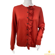 New Authentic Louis Vuitton Red Wool Cardigan Sweater Size L 448k