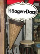 Haagen-dazs Ice Cream Advertising Cone Light Up Sign Double Sided