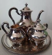 Vintage Reed And Barton Regent 5600 Silverplate Silver Plate Tea Set With Tray