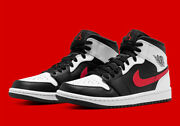 Nike Air Jordan 1 Mid Shoes Black White Chile Red 554724-075 Menand039s Or Gs New