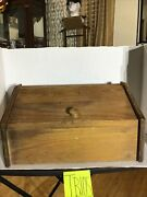 Vintage Style Wooden Bread Box. Dark Wood, Hand Crafted. Tb105.