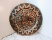 Antique Middle Eastern Hammered Copper Brass Tray / Table Top / Wall - 25 X 25