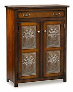 Amish Pie Safe Kitchen Pantry Cupboard Wheat Door Panels Solid Wood