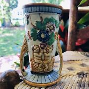 Antique Japanese 5.5 Floral Hand-painted Andldquokandrdquo Japan Mark Two Handle Kyoto Vase