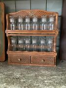 Set Of 12 Vintage Glass Apothecary Spice Jars With Rack Japan