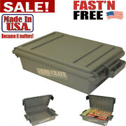 Military Ammo Box Plastic Storage Case 65 Lbs Hunting Ammunition Crate Utility