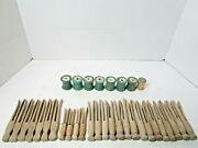 Vintage Lot Of 26 Clothespins And 8 Thread Spools Decoration Display Sewing Taylor