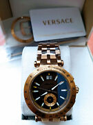 New Versace Vah060016 Menand039s V-race Bronze Tone Stainless Steel Swiss Made Watch.
