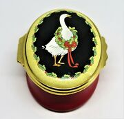Halcyon Days Enamel Box - Goose And Christmas Holly Wreath - Red Ribbons - Gump's