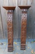 Pair Carved Antique Corbels Hand Carved Wood Pediments Architectural