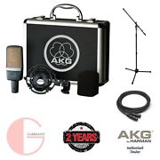 Akg C214 Large Diaphragm Pro Studio Microphone W/ Xlr Cable And And Mic. Stand