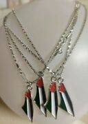 Palestine Map Colors Flag Pendant Metal Coated Chain Necklace Flag Lot Of 4 Pcs