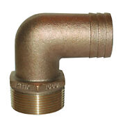 Groco 1-1/4 Npt X 1-1/4 Id Bronze 90 Degree Pipe To Hose Fitting Standard Flow